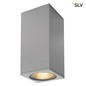 Preview: SLV 234504 BIG THEO WALL Outdoor Wandleuchte zweiflammig LED 3000K Flood up down silbergrau B H T 13 27,5 13,5 cm