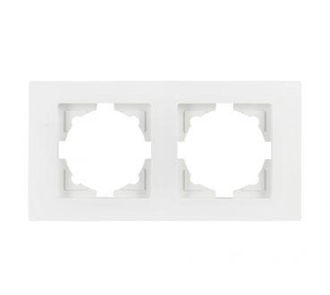 Gunsan Moderna 2-fach Rahmen für 2 Steckdosen Schalter Dimmer Weiss
