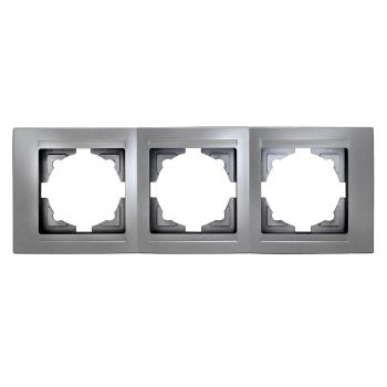 Gunsan Moderna 3-fach Rahmen für 3 Steckdosen Schalter Dimmer Silber