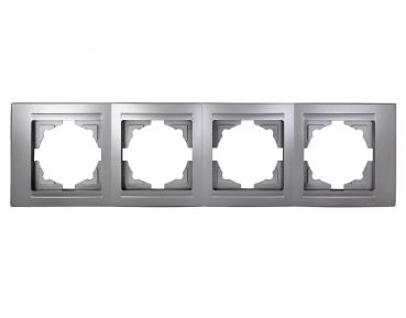 Gunsan Moderna 4-fach Rahmen für 4 Steckdosen Schalter Dimmer Silber