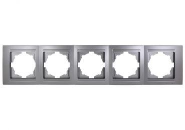 Gunsan Moderna 5-fach Rahmen für 5 Steckdosen Schalter Dimmer Silber
