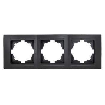 Gunsan Moderna 3-fach Rahmen für 3 Steckdosen Schalter Dimmer Schwarz