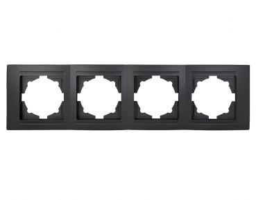Gunsan Moderna 4-fach Rahmen für 4 Steckdosen Schalter Dimmer Schwarz