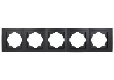Gunsan Moderna 5-fach Rahmen für 5 Steckdosen Schalter Dimmer Schwarz