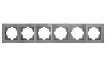 Gunsan Moderna 6-fach Rahmen für 6 Steckdosen Schalter Dimmer Silber