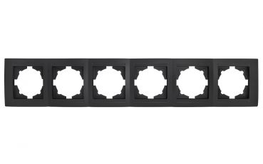 Gunsan Moderna 6-fach Rahmen für 6 Steckdosen Schalter Dimmer Schwarz