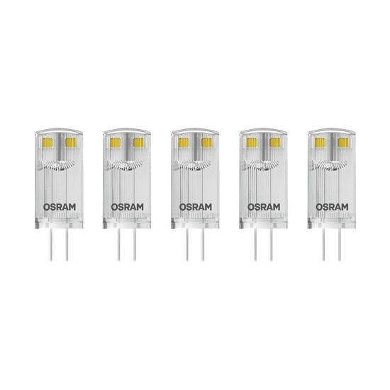 5er-Pack OSRAM BASE G4 PIN LED Stecklampe 0,9W 100Lm 2700K warmweiss wie 10W