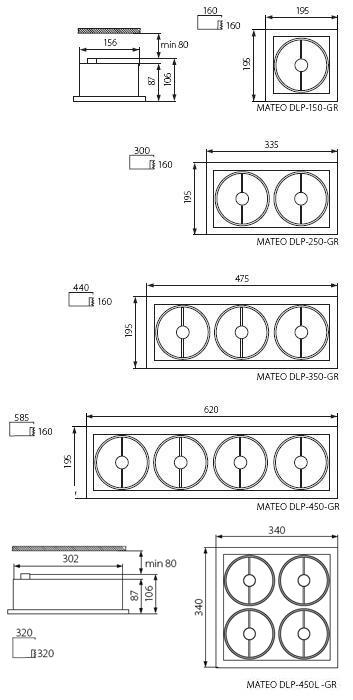 G53 MATEO DLP-150-GR Kanlux Einbaustrahler AR-111