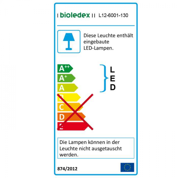 Bioledex LED Streifen 12V 12W/m 60LED/m 2700K 5m Rolle warmweiss
