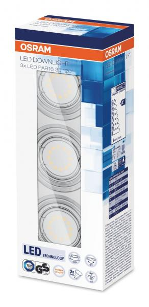 OSRAM Downlight LED Einbauleuchte 3*240Lm warmweiss Metall
