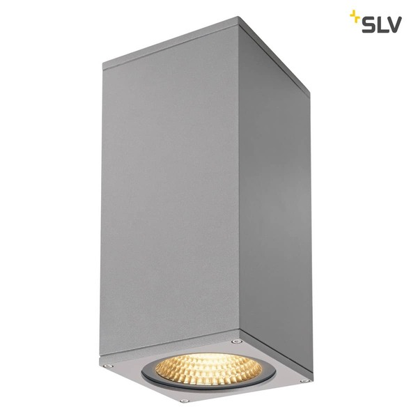 SLV 234504 BIG THEO WALL Outdoor Wandleuchte zweiflammig LED 3000K Flood up down silbergrau B H T 13 27,5 13,5 cm