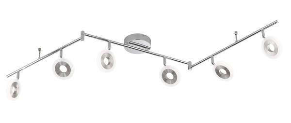 Wofi Divina LED Deckenleuchte 6-fach 25,2W Nickel-matt chrom
