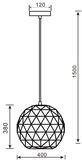 Deko-Light Pendelleuchte Asterope rund 400, E27, max. 40W, Metall, schwarz, matt 342133