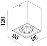 Deko-Light Deckenaufbauleuchte Dato, GU10, max. 50W, Alu, Weiß 348025