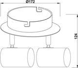 Deko-Light Deckenaufbauleuchte Indi II, GU10, 2x max. 50W, Alu, Silber 348086